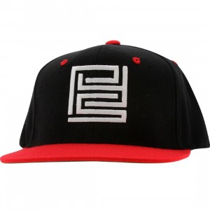 PYS Block Logo Snapback Caps - White (black / red)