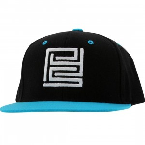 PYS Block Logo Snapback Caps - White (black / teal)