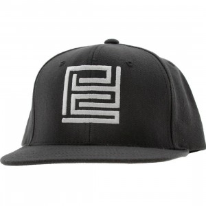PYS Block Logo Snapback Caps - White (grey)