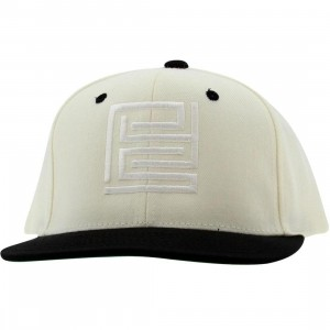 PYS Block Logo Snapback Caps - White (natural / black)