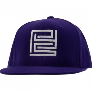PYS Block Logo Snapback Caps - White (purple)