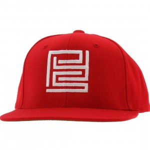 PYS Block Logo Snapback Caps - White (red)