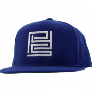 PYS Block Logo Snapback Caps - White (royal blue)