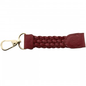 Rastaclat Merlot Leather Weave Keychain (burgandy / gold)