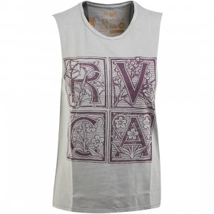 RVCA Women Letterpress Muscle Tank Top (gray)