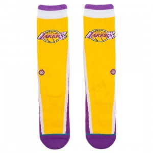 Stance x NBA Men Lakers Warmup Socks (purple)