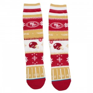 Stance x NFL Men 49ers Holiday Sweater Socks (red)