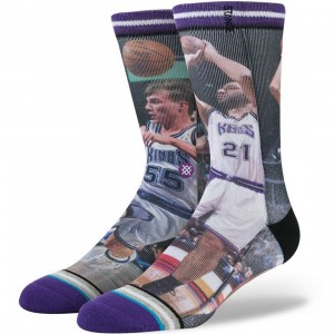 Stance x NBA Legends Sacramento Kings Vlade Divac Jason Williams Socks (purple)