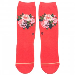 Stance Women Not Thirsty Crew Socks (red)