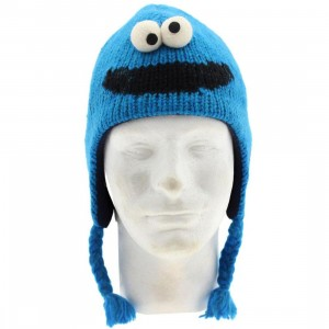 Sesame Street Kids Cookie Monster Pilot Hat Beanie (blue)