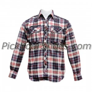 Sneaktip Flannel (navy / red plaid)