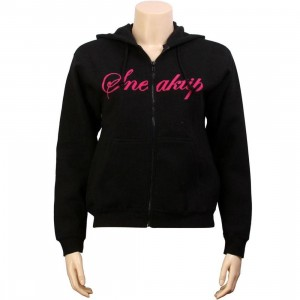 Sneaktip Womens Dr Doom Zip Up Hoody (black / pink)