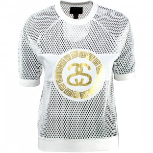 Stussy Women Mesh Short Sleeve Sweatshirt (white)