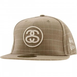 Stussy Deluxe Check New Era Fitted Cap (tan)