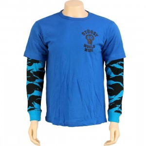 Stussy Double Tiger Long Sleeve Tee (blue)