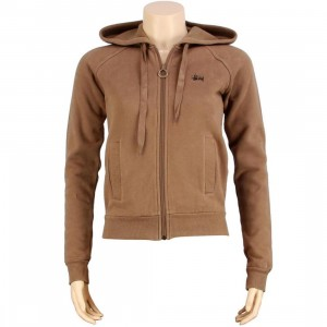 Stussy Womens Classic Embroidered Hoody (brown)