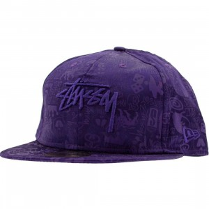 Stussy Logos All Over New Era Fitted Cap (purple)