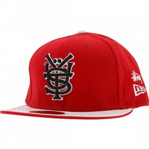 Stussy Mono New Era Fitted Cap (red)
