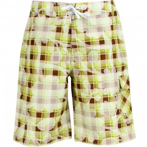 Stussy Plaid Flowers Swim Trunk (lime)