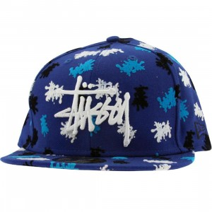 Stussy Splatter Stock New Era Fitted Cap (blue)