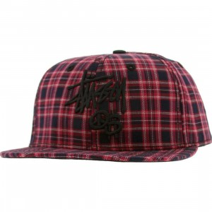 Stussy Stock Peace And Prosperity Plaid Snapback Cap (red)