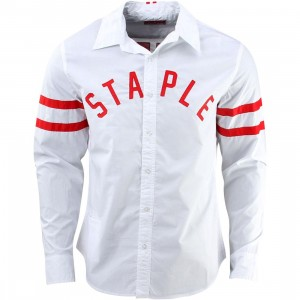 Staple Parallel Long Sleeve Woven Shirt (white)