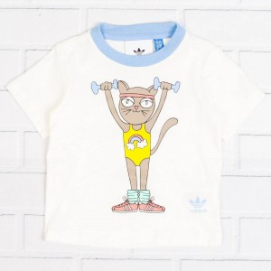 Adidas Toddlers Mini Rodini Tee (white / off white / bahia light blue)