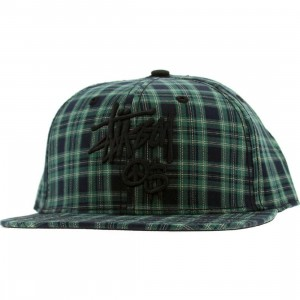 Stussy Stock Peace And Prosperity Plaid Snapback Cap (green)