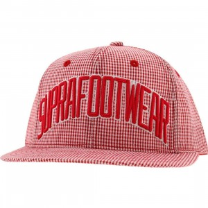 Supra Gingham Snapback Cap (red)