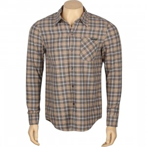 The Hundreds Men Privet Woven Long Sleeve Shirt (burgundy / khaki plaid)