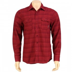 The Hundreds Dark Flannel Long Sleeve Shirt (burgundy)