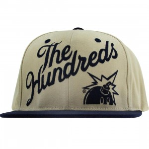 The Hundreds Slant Snapback Cap (natural / navy)