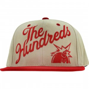 The Hundreds Slant Snapback Cap (natural / red)