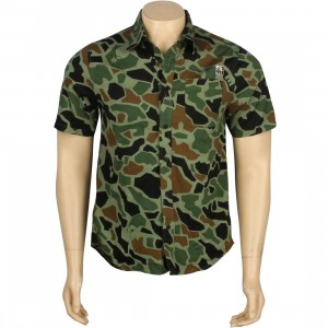 The Hundreds Stimpy Woven Short Sleeve Shirt (duck camo)