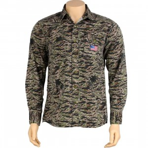The Hundreds Stanley Long Sleeve Shirt (woodland camo)