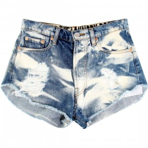 The Laundry Room Women Cutoffs Black Flag Shorts (blue / med cloud)