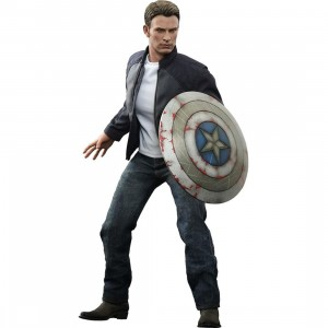Hot Toys Captain America And Steve Rogers 1/6 Scale Collectible Figure Set (black / blue)