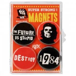 The Future Is Stupid Set Of 4 Magnets - Kozik (black / red)