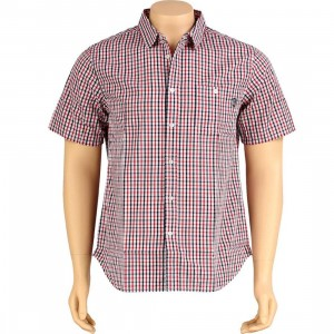 Undefeated Plaid Woven Short Sleeve Shirt (red)