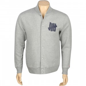 Undefeated 5 Strike Snap Varsity Jacket (grey heather)