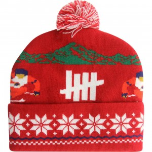 Undefeated Slalom Pom-Pom Beanie (red)
