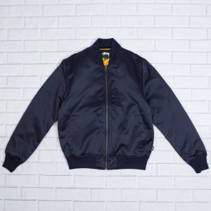 Stussy Men Emory Satin Bomber Jacket (navy)