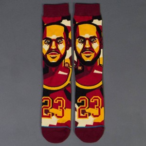 Stance x NBA Men Mosaic Lebron Socks (burgundy)