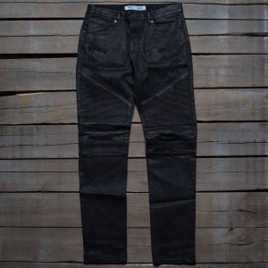 Reason Men Leroy Waxed Black Moto Denim Jeans (black)