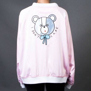 Lazy Oaf Women Don't Care Bear Bomber Jacket (pink)
