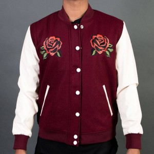 Lifted Anchors Men Windsor Varsity Jacket (burgundy)
