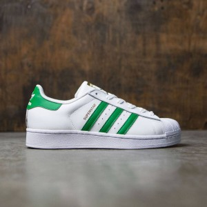 Adidas Big Kids Superstar Foundation J (white / green / gold metallic)