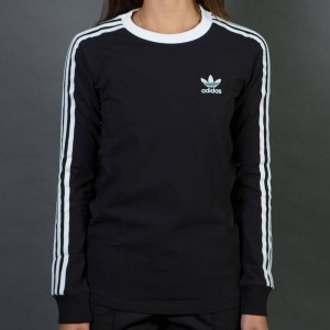 Adidas Women 3-Stripes Long Sleeve Tee (black)