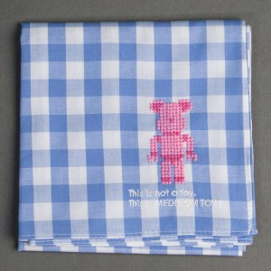 Medicom Toy 20th Anniversary Bearbrick Cross Stitch Handkerchief (blue)