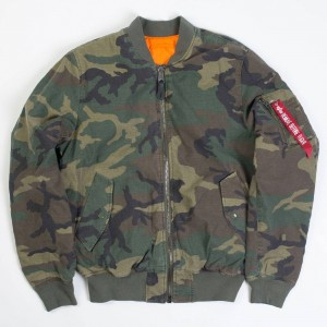 Alpha Industries Men MA-1 CTN Reversible Jacket (camo / woodland camo)